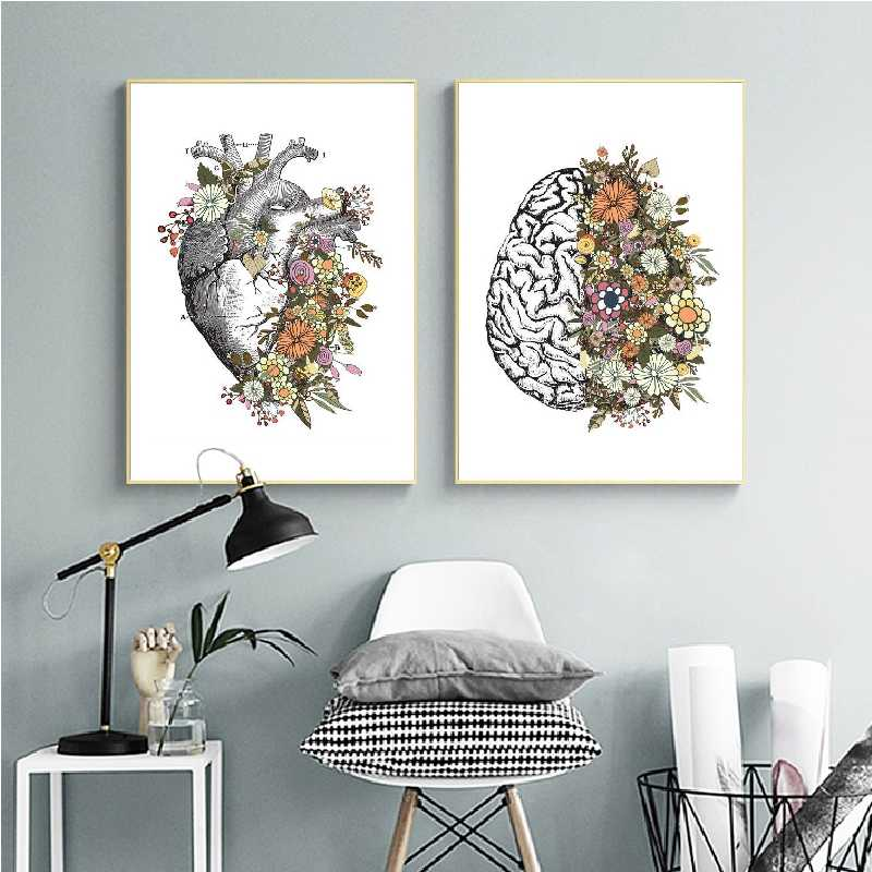 Vintage Anatomy Floral Heart Brain Wall Art Canvas Painting Retro Posters and Prints Wall Pictures Medical Doctor Clinic Decor