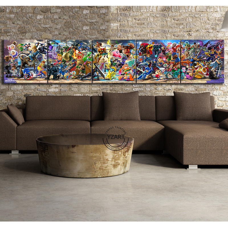 5 Piece Super Smash Bros Cartoon Pictures Video Game Poster Artwork Canvas Paintings  Wall Art for Home Decor 2