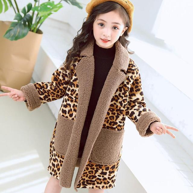 c912a085d714 2018 Toddler Teen Warm Girl Winter Coat Jacket Parkas Leopard Print ...