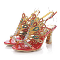 2019 Summer New Red Large Size Peacock Pattern Hollow Diamond Sandals Buckle Open Toe Thick Heels 8CM