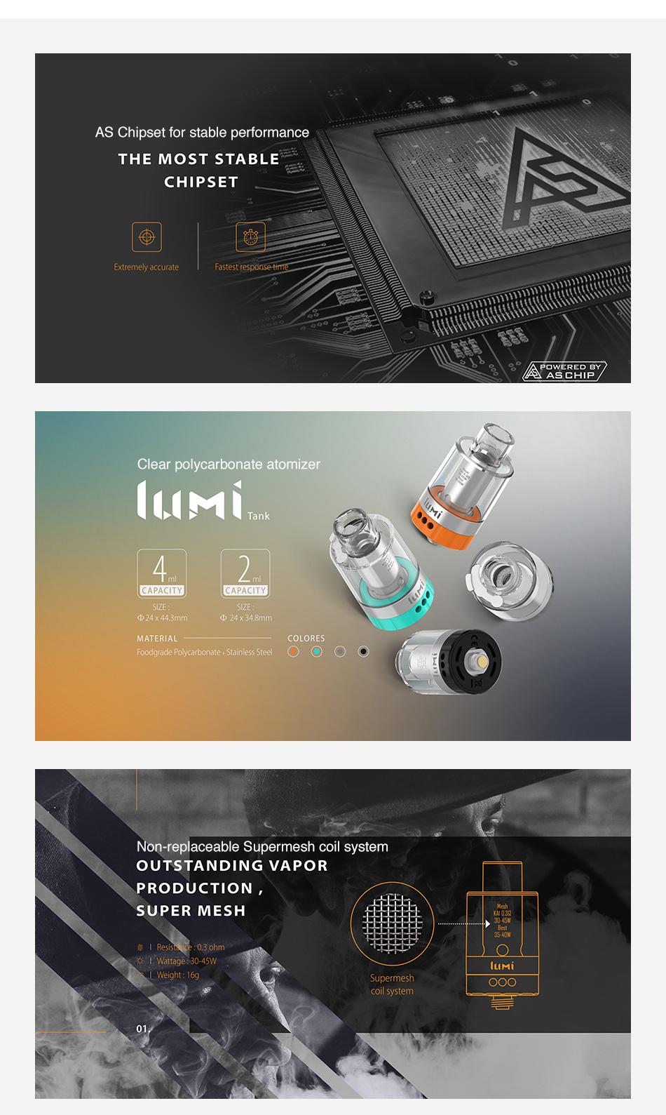 , Digiflavor Helix Starter Kit w/ 4ml Lumi Tank & AS Chipset & Non-replaceable Supermesh Coil System No 18650 Battery Vape Pen Kit