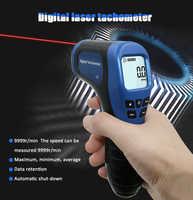 Tachymètre numérique LCD tachymètre Laser sans Contact gamme Tach 2.5-99999 tr/min compteur de vitesse moteur avec 1pc bande réfléchissante