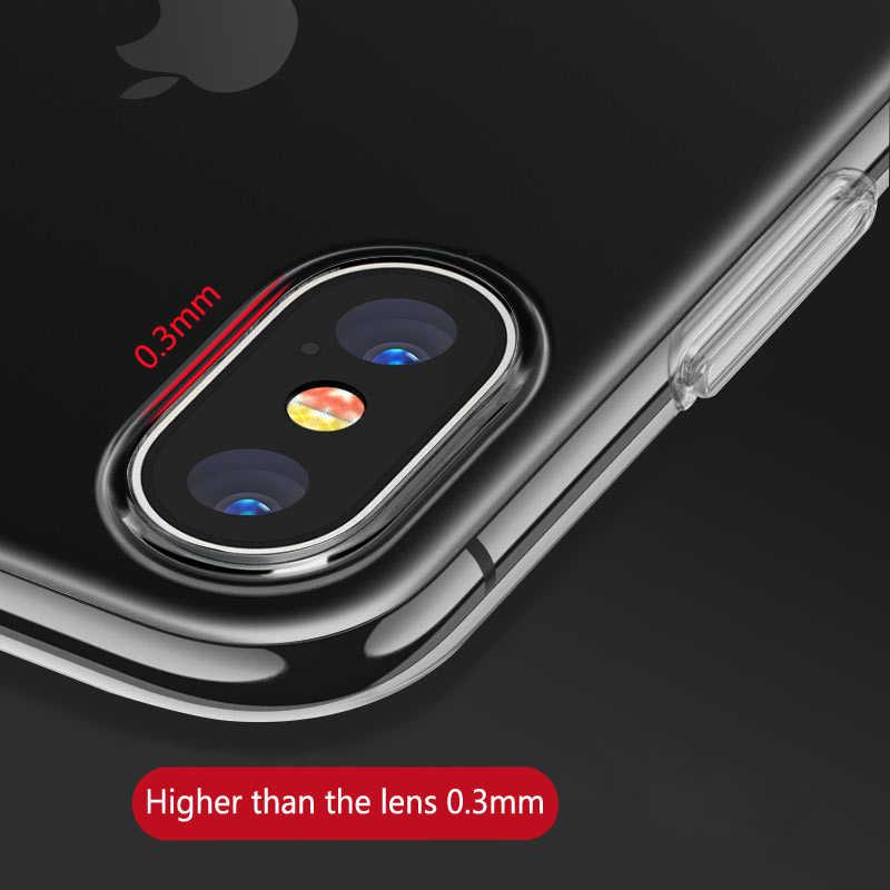 الأصلي شفافة TPU حالة الترا سليم لينة غطاء ل فون XS ماكس XR X 10 8 7 6 s زائد 5 s SE واضح سيليكون المطاط جراب هاتف