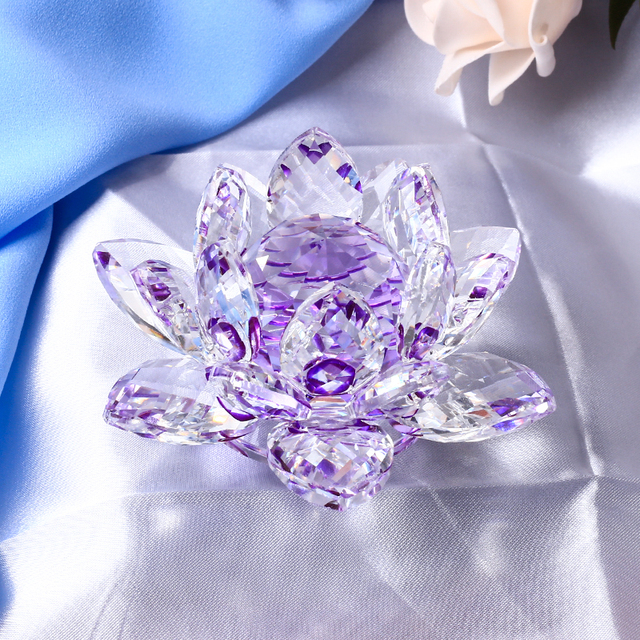 8/10/12CM Multicolor Crystal Lotus Flowers Miniature Feng Shui Glass Figurines Crafts Paperweight Home Decor Accessories Gift 3