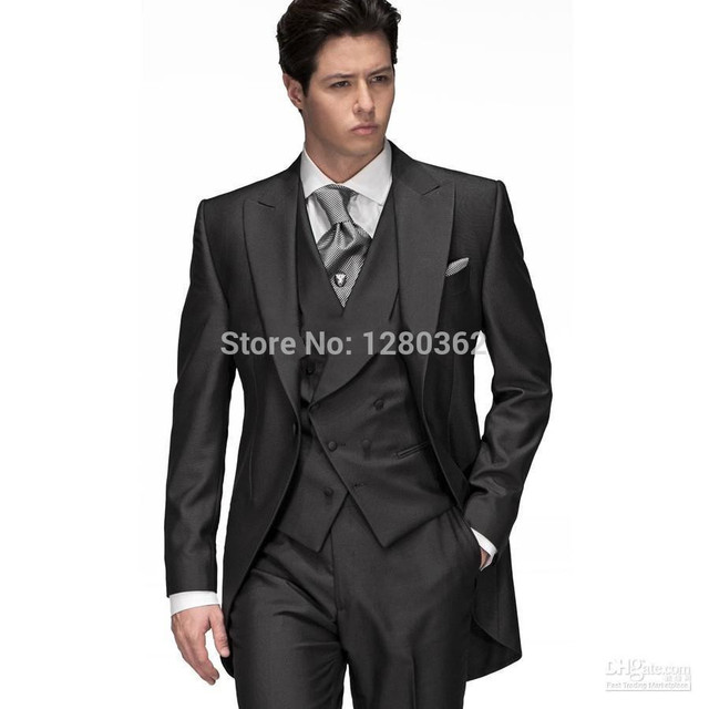 2015 sale Modern Men's Gentleman Black men's dress prom sequin groom suits classic groom tuxedos