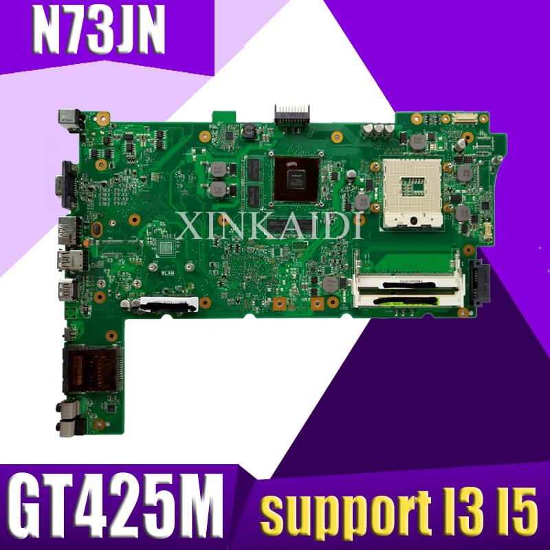XinKaidi Original Laptop Motherboard for ASUS N73JN N73JG N73JQ N73JF REV:2.1 60-NZYMB1100-C14 Mainboard 2 <font><b>RAM</b></font> slots 100% tested image