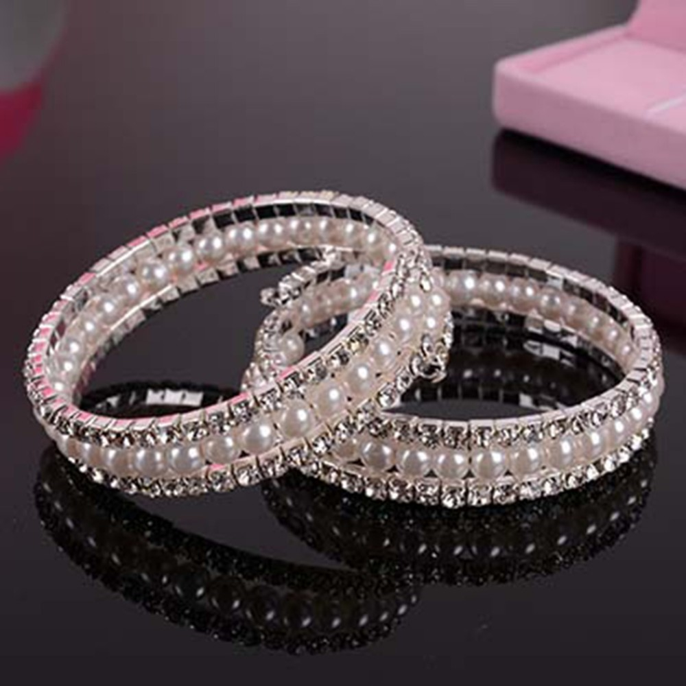 2 Style Imitation Pearl Bracelet Intage Bridal Wedding 2 Rows Rhinestone  Crystal Faux Pearls Bangle Bracelet