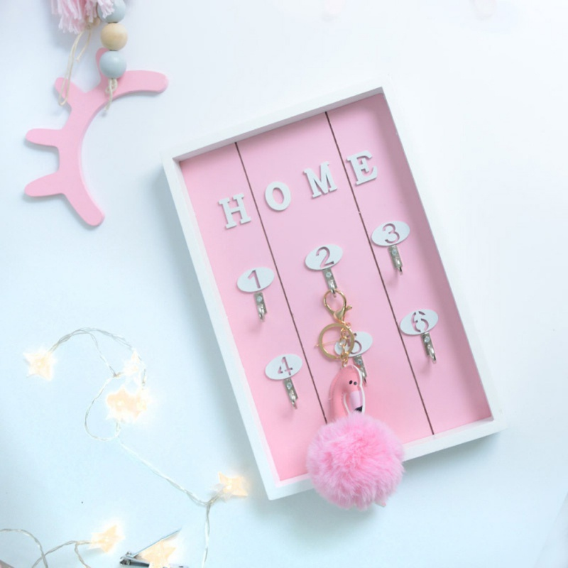Home Decoration Key Hook Cute Beautiful Wooden Crafts Creative Key Box Wall Hanging Home Key Storage Keys Sticky Holder