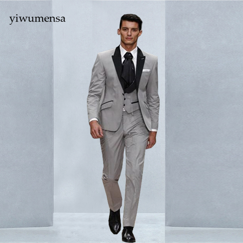 Light Grey With Black Lapel Groom Tuxedos Groomsman Wedding Blazer ...