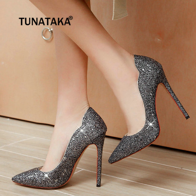 58081950e5c Fashion Sequined Cloth Sexy Thin High Heel Pumps Pointed Toe Party Wedding  Shoes Woman Gold White Black Purple-in Women's Pumps from Shoes on ...