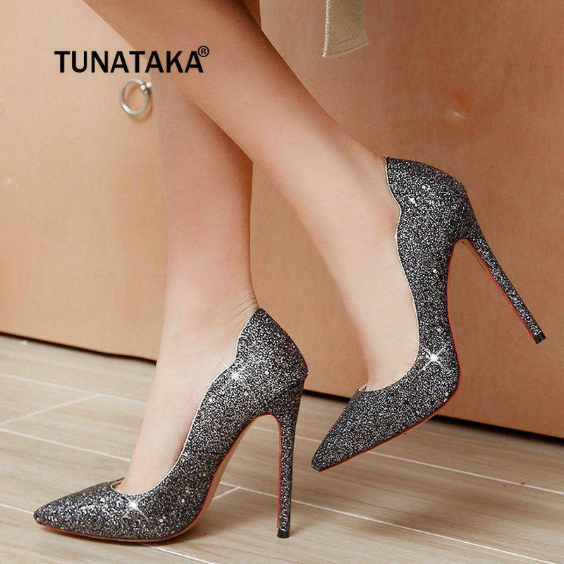 Fashion Sequined Cloth Sexy Thin High Heel Pumps Pointed Toe Party Wedding Shoes Woman Gold White Black Purple