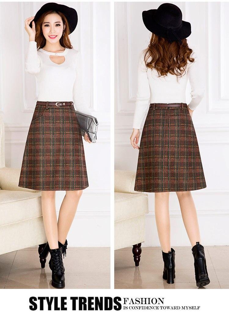 7199ca9762e Skirts Womens 2016 Autumn Winter Woolen Skirt Casual Slim A line ...
