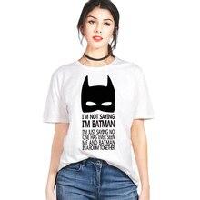 Летние женские Бэтмен печати женские рубашки высокого качества одежда для Женщины О-воротник футболка Бат Человек г-жа белый bat человек-топ тройники