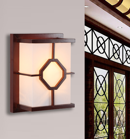 Chineses rustic red wood frame wall lamps vintage white parchment energy saving E27 lamp for bedroom&porch&stairs&studio QLBD001