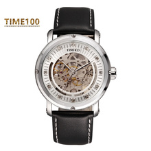 Luxury Men's Automatic Self-wind Watch Mechanical Skeleton Watches Brown Leather Strap Gold Dial Automatic Brand Watch W042