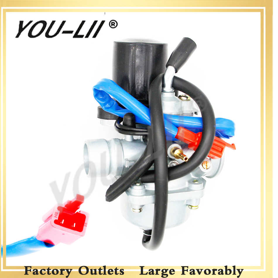 YOULII 19mm Carburetor Moped Carb for 2 Stroke Piaggio Zip For Yamaha Jog  50 50cc Scooter 50cc 70cc 90cc Mini Carb ATV 1E40QMB