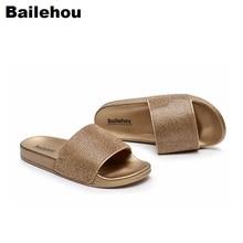 купить Women Diamond Slippers Slip On Slides Flat Women Shoes Bling Crystal Sandals Beach Flip Flops Platform Home Female Summer Shoes по цене 908.11 рублей