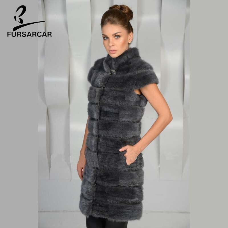 À 2 Fourrure Grey Solide dark Couleurs D'hiver Femmes Gilet Court Col Mandarin Vison 2018 Fursarcar De 100 Réel Manches Blue Mince IZRq74