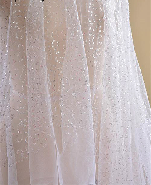 Ivory Mesh Lace Sequined Gauze Lace Sequin Netting Lace