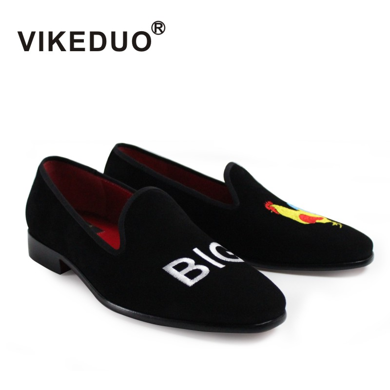 2018 Sale Vikeduo Handmade Mens Loafer Black Suede 100% Genuine Leather Flat Shoes Fashion Casual Dress Party Original Design 2017 new real superstar sale mens shoes casual flat men vintage retro custom doug luxury leather handmade fashion genuine