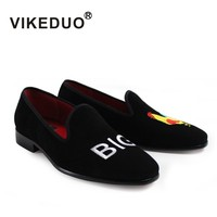 2018 Sale Vikeduo Handmade Mens Loafer Black Suede 100% Genuine Leather Flat Shoes Fashion Casual Dress Party Original Design