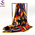 Brand Black Gold Square Scarves Ladies 90*90cm Autumn Winter Pure Silk Twill Silk Scarf Shawl Rope Pattern Heavy Silk Scarves