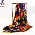 Marca Lenços Quadrados Senhoras de Ouro Preto 90*90 cm Outono Inverno lenço de Seda Lenço de Sarja De Seda Pura Xale Padrão de Corda Lenços de Seda pesada