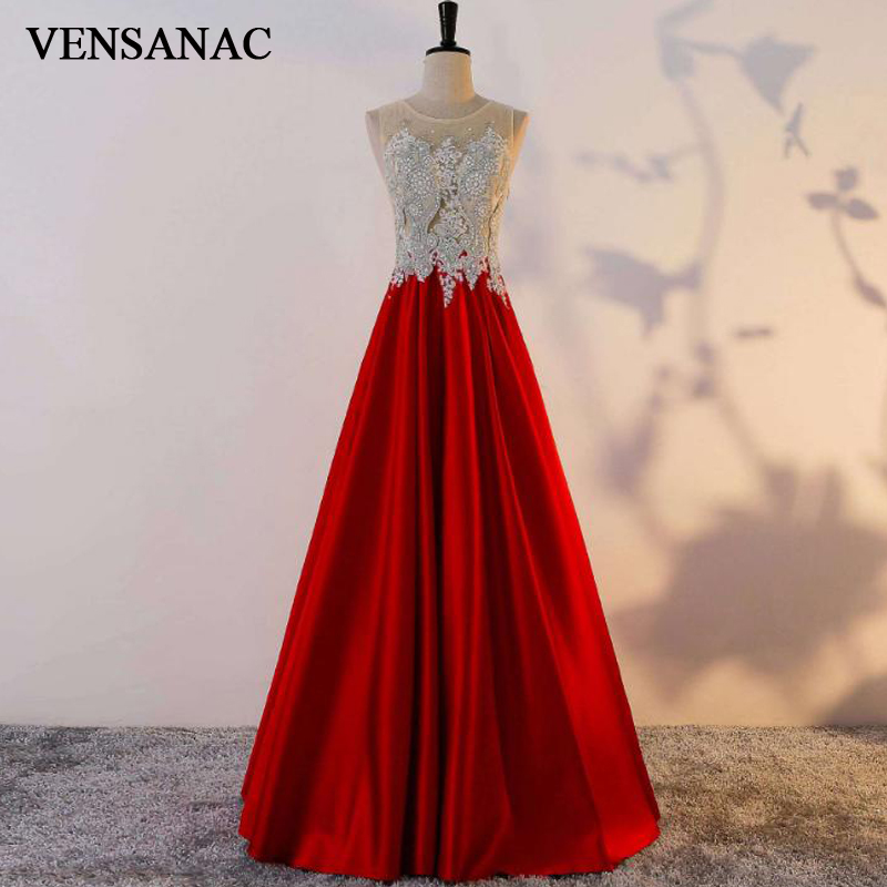 VENSANAC Lace Sheer O Neck Pearls Long A Line   Evening     Dresses   Elegant 2018 Illusion Crystals Embroidery Party Prom Gowns