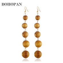 Long Wood Drop Earrings For Women Ball Natural Beaded Dangle Circle Brincos Summer Charm Jewelry Party Gifts 2018