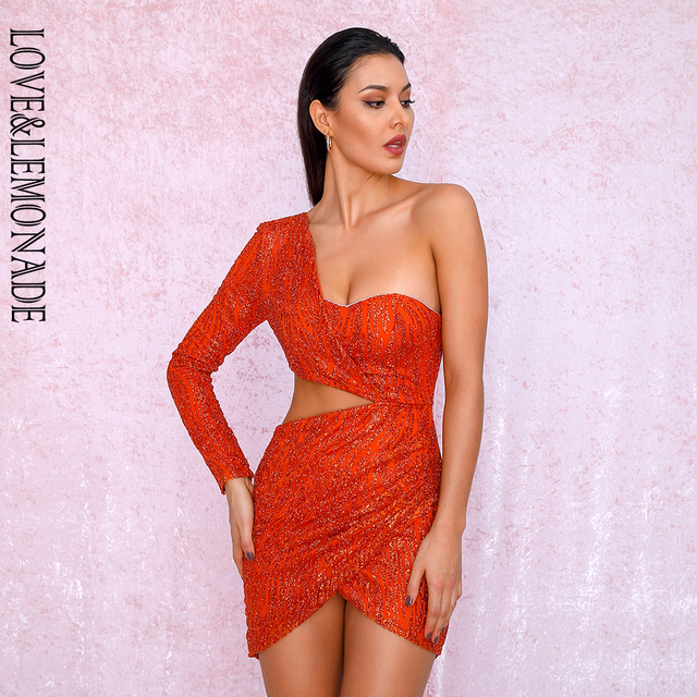 LOVE&LEMONADE Sexy Orange Cut Out Single Sleeve Glitter Glue Bead Material Bodycon Party Dress LM81650
