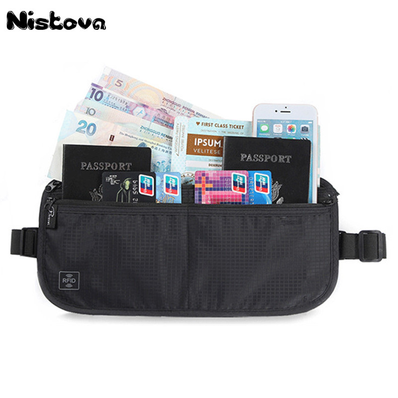RFID Solid Waist Pack Waterproof Hanging Folding Bag Dual Use Secure Hidden Travel Passport Wallet Undercover ID Card Fanny Pack