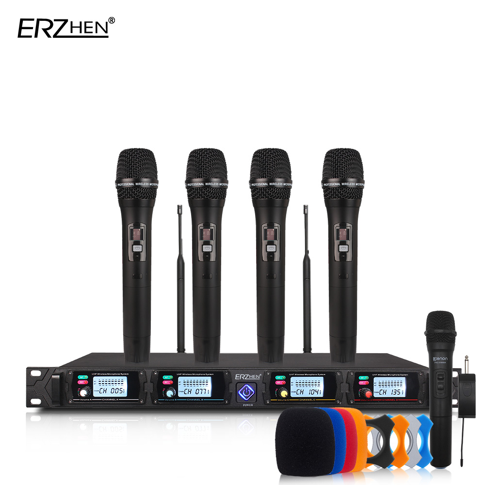 Wireless microphone system 8000GT professional UHF channels dynamic microphone professional 4 karaoke microphone + latest concep цена 2017