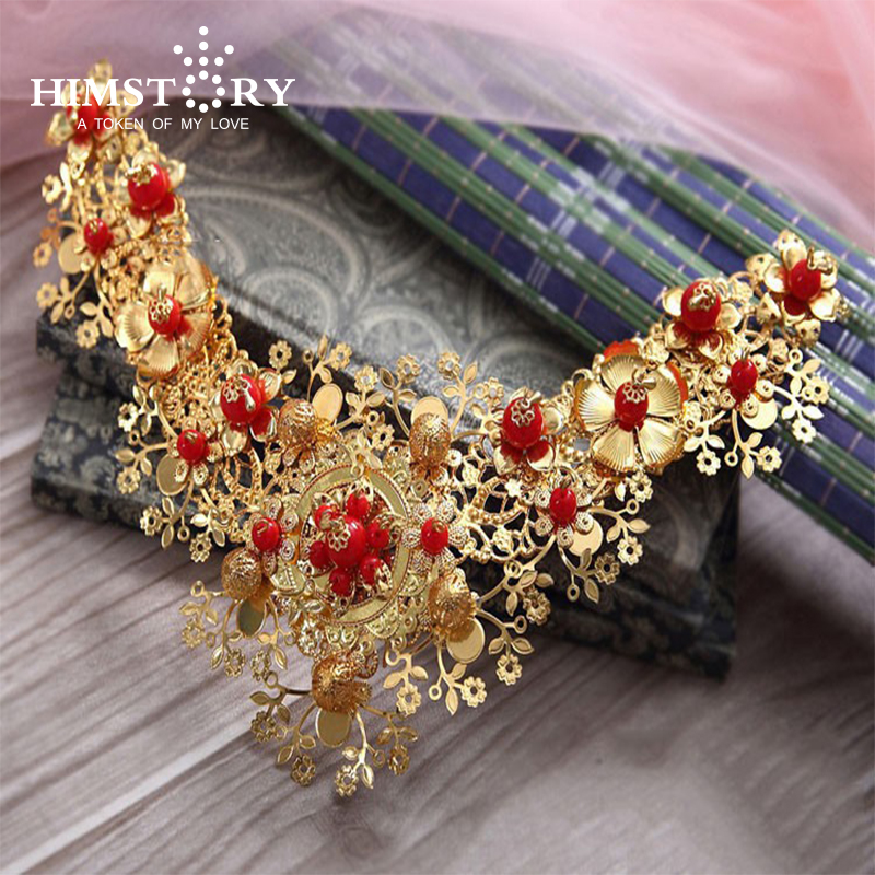 New beautiful Chinese Style Costume Bride Gold Hair Tiaras ,Red Pearl Wedding Hair Accessory Headpiece