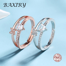 цена на Luxury Silver Ring Gemstone 925 Sterling Silver Rings For Women Party Crystal Bouble Butterfly Ring Adjustable Engagement Ring
