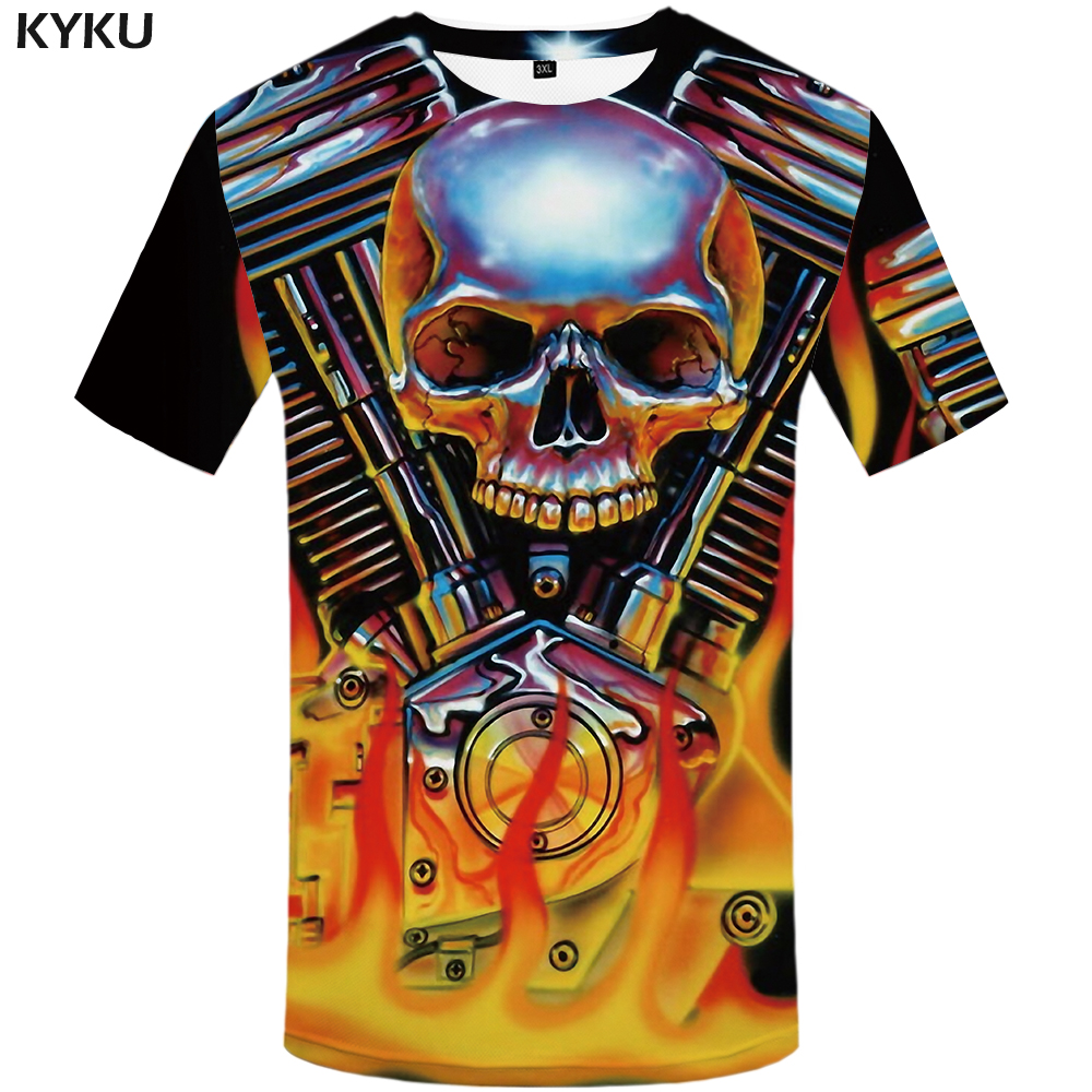 KYKU Brand Skull T shirt Hip Hop Clothes Flame Tops Mechanical Clothing Leisure Tshirt T shirt Men Man Sexy Punk Homme in T Shirts from Men 39 s Clothing