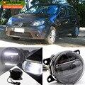 eeMrke Car Styling Led DRL For Renault Sandero 2008 - up 2 in 1 LED Fog Light Lamp With Q5 Lens Daytime Running Lights