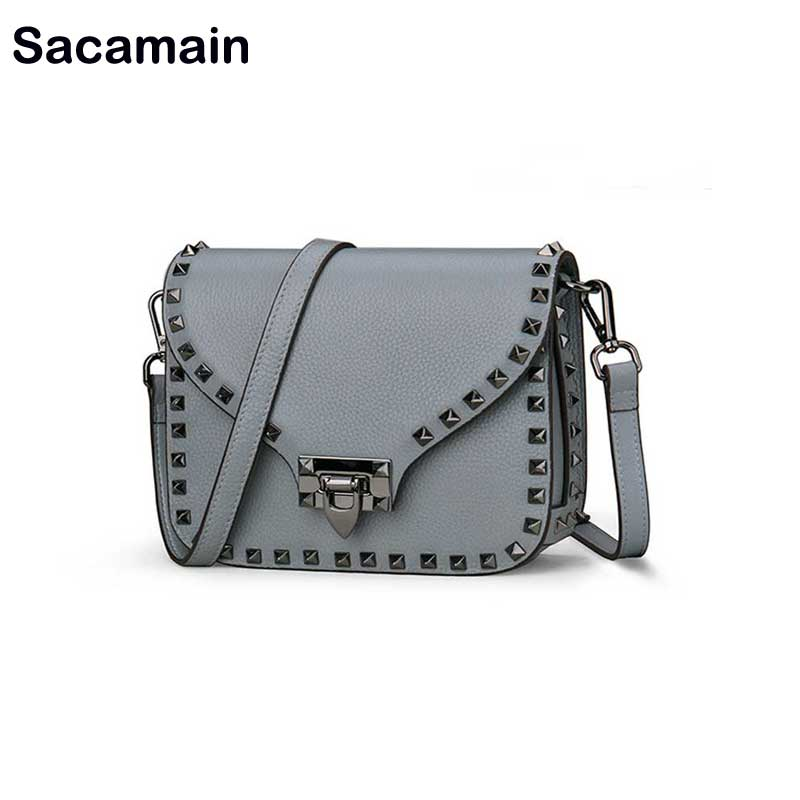Fashion Woman 2018 Messenger Shoulder Bags Famous Brand Women Zipper Ita Bag Luxury Rivet Cowhide Genuine Leather bag Summer SacFashion Woman 2018 Messenger Shoulder Bags Famous Brand Women Zipper Ita Bag Luxury Rivet Cowhide Genuine Leather bag Summer Sac
