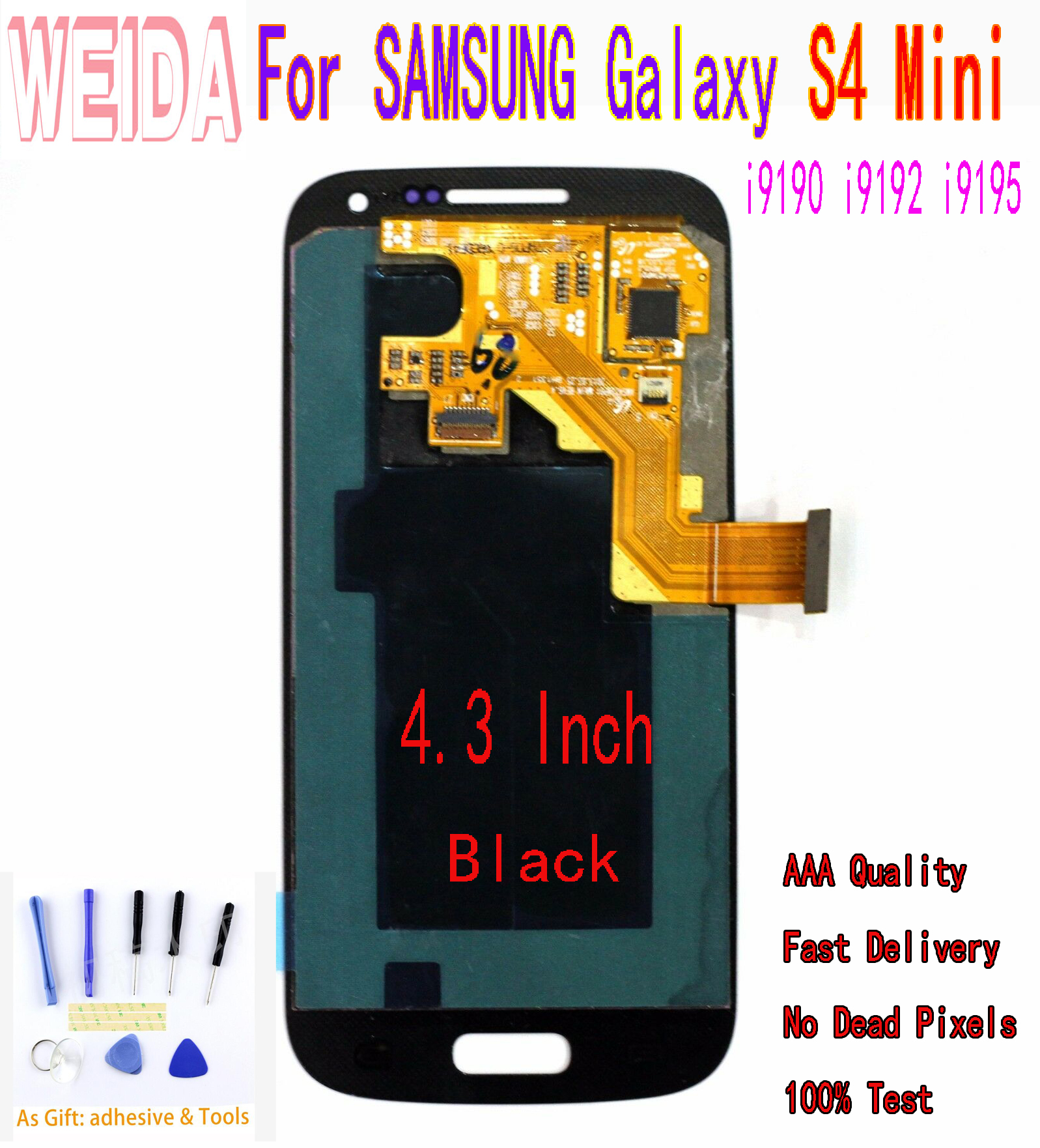 WEIDA 5.0 For SAMSUNG Galaxy S4 Mini i9190 i9192 i9195 i337 LCD Display Touch Screen Digitizer Assembly WITHOUT Frame image