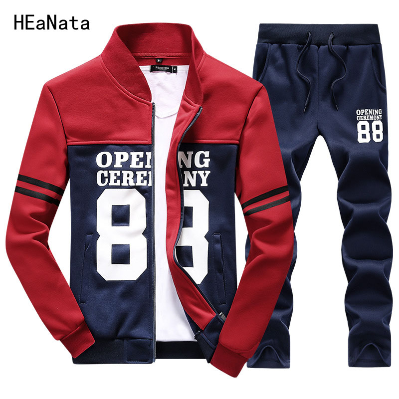 Hoodies Tracksuit Men Set Autumn Winter Running Sportswear Suits Casual Letter Patchwork Zipper Two Pieces Sets Jacket+Pants Men