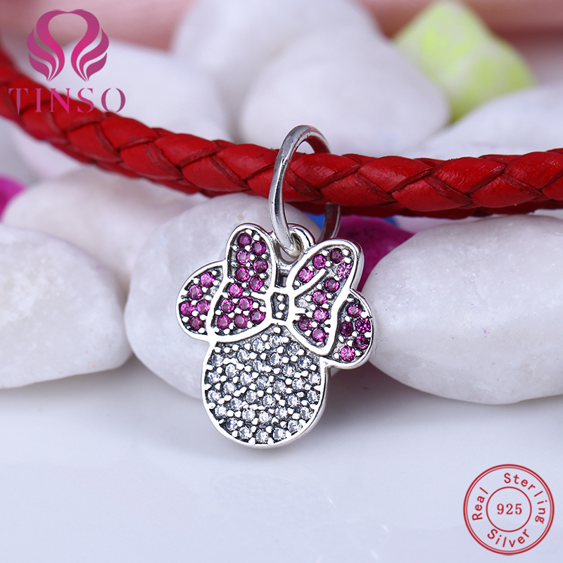 100% Elegant 925 Sterling Silver Minnie Mouse Pendant Charms Fit Necklace Pandora Bracelet Beads for Jewelry Making