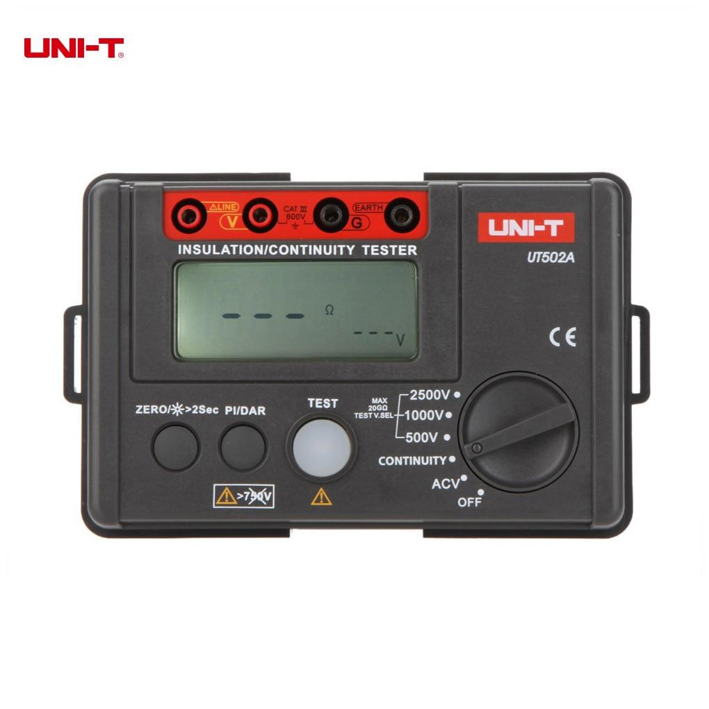 UNI-T UT502A 2500V Digital Insulation Resistance Meter Tester Lcd Backlight Megohmmeter Voltmeter Continuity Tester