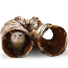 Foldable Cat Kennel Funny Toy For Cat Rabbit Small Ball Lovely 2 Holes Tiger Pattern Long Tunnel High Quality Free Shipping