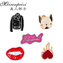 Cute Dog/Sexy Red Lip/Heart Fashion Collar Pins For Women Clothing Accessories Silver Plated Colorful Enameled Brooch