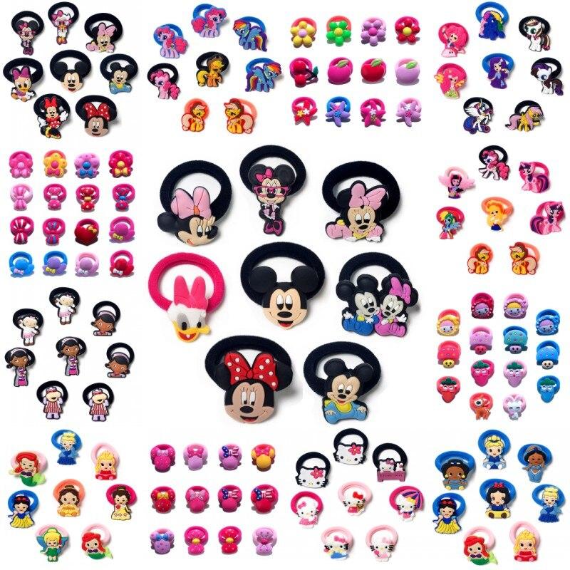 8-16PCS Hairbands Mickey Minnie Kids Scrunchy Hair Band Elastic Hair Accessories Girl's Hair Rope