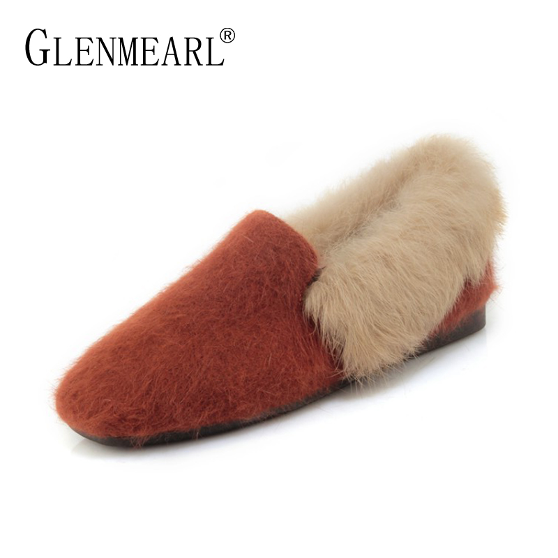 Brand Women Flats Shoes loafers Real Rabbit Fur Winter Warm Flat Heel Shoes Woman Plus Size Female Single Casual Lazy Flats DE old beijing embroidered women shoes mary jane flat heel cloth chinese style casual loafers plus size shoes woman flower black