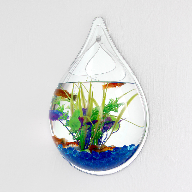 Aquarium Fish tank Wall Mounted Mirror Fish tanks Small scale Wall Hanging Vase Plant Fish ...