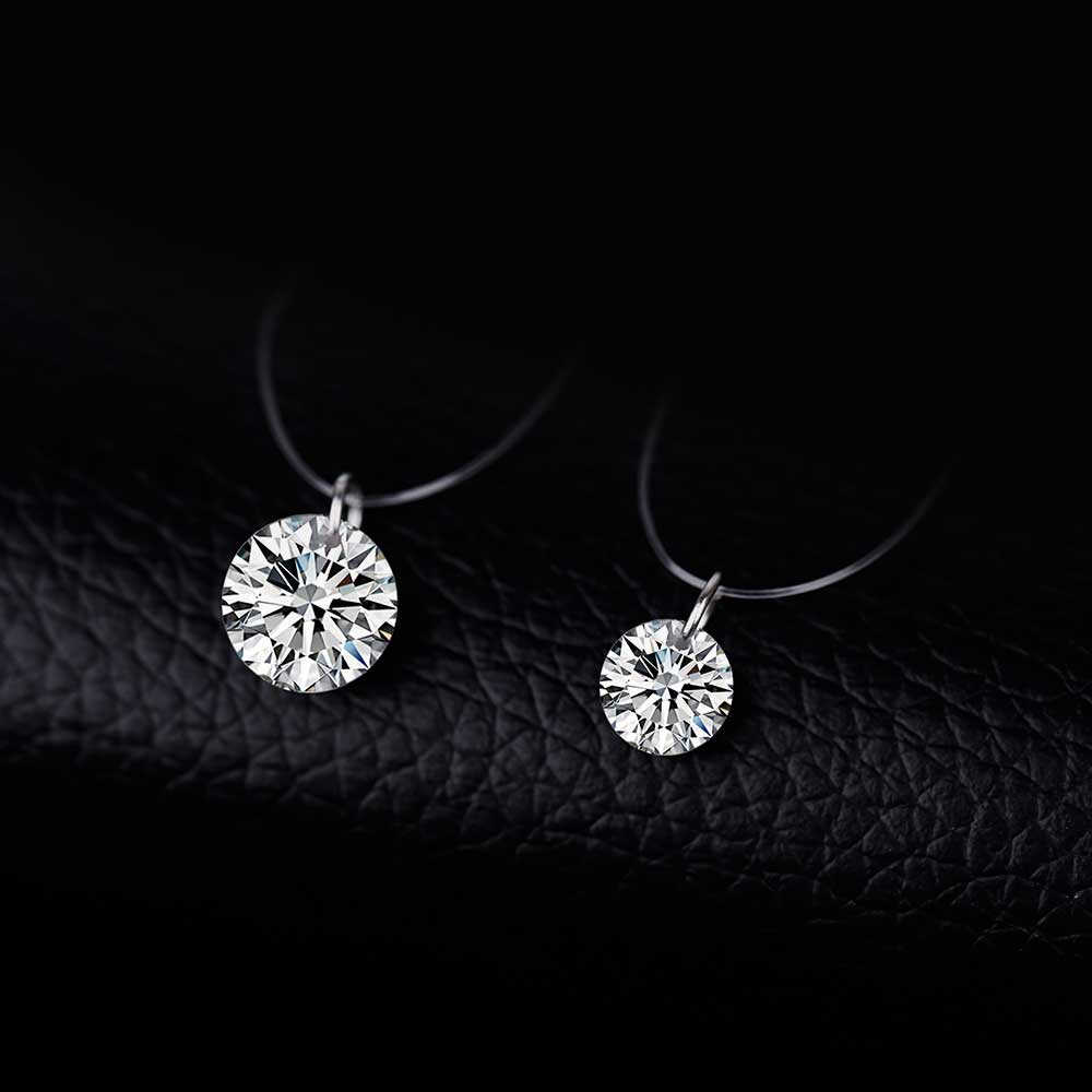Warna Perak Mempesona Zircon Kalung Invisible Line Transparan Memancing Sederhana Liontin Kalung untuk Wanita Fashion Perhiasan Pesta