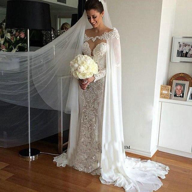 Mantel Brautkleid mit Abnehmbarer Cape Durchsichtig Zurück Perle ...