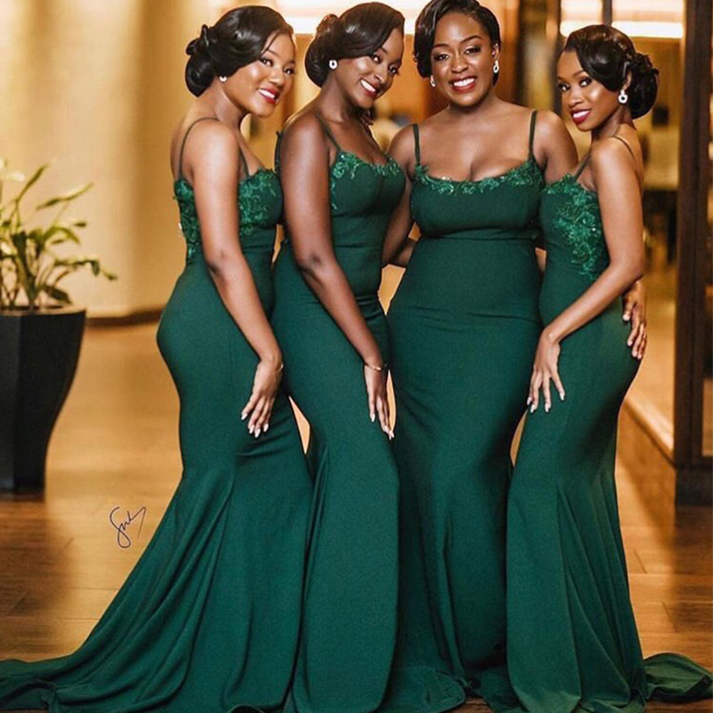 Robe demoiselle d'honneur Mermaid Dark Green Mermaid   Bridesmaid     Dresses   2019 African Appliqued Prom   Dress   Party Gowns