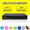 4MP vigilancia Blue-Ray XMeye Hi3531A 16CH 6 en 1 Wifi Coaxial híbrido Onvif NVR CVI TVi AHD CCTV DVR envío gratis